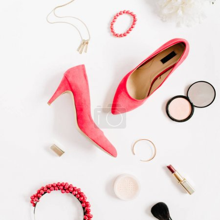 High heels and accessories collage