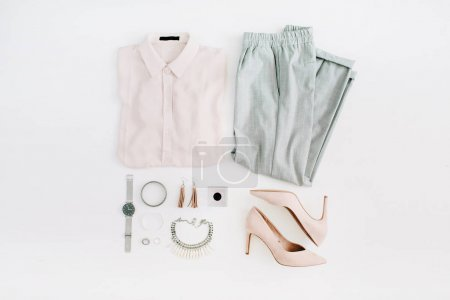 Women modern fashion clothes and accessories. Flat...