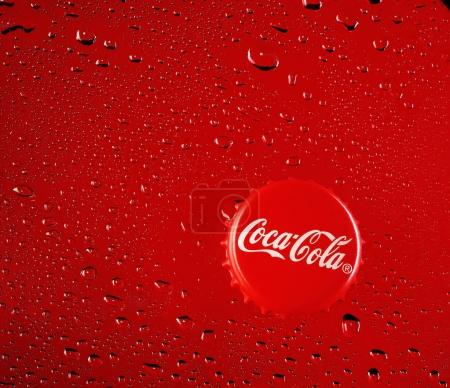Coca-Cola on red background