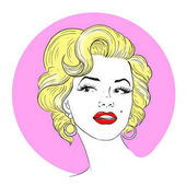 MARCH 1 2017: A vector illustration of a portrait of Marilyn Monroe Cartoon portrait isolated vector editorial