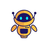 Cute yellow robot illustration with blue eyes
