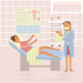 Happy family concept Woman gives birth to a child Midwife baby on Maternity ward background Gynecology childbirth People in flat design Cartoon characters illustration vector eps10