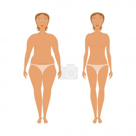 Illustration for Body woman correction, cellulite fat, plastic surgery, women weight loss success, woman beauty. Concept for banner or flyer, abstract isolated vector eps10 illustration - Royalty Free Image