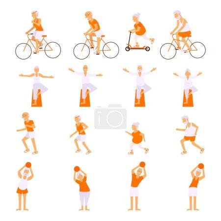 Ältere Menschen Übungen machen lassen