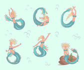 Mermaids set in cartoon style suitable for childrens fairy tales coloring pages Vector illustration eps10