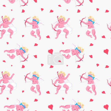 Illustration for Seamless pattern with Playful Cupid sleeping on cloud, aim an arrow from archery, sprinkles with hearts. Symbol of love for Valentines day fabric, textile, wrapping paper Flat Art Vector illustration - Royalty Free Image