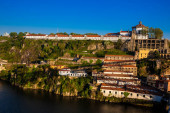 The historical Monastery of Serra do Pilar and the town of Vila Nova de Gaia on the banks of Douro River seen from Porto city