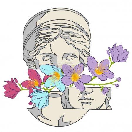 Illustration pour Tête de Venus et fleurs. Tête d'une statue antique avec des fleurs. Dessin pour tatouage - image libre de droit