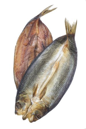 Smoked herring on a white background