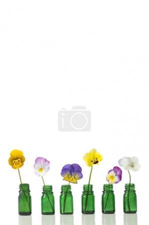 Photo pour Belle culotte, huile essentielle en bouteille de verre - image libre de droit