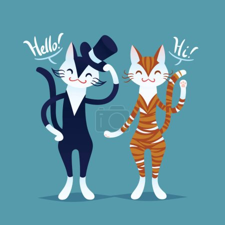 Cute cat couple. Vector illustration in flat cartoon style. Hello.