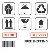 shipping and package handing symbol for carton box handle with care recycling sign up sign fragile sign wet sign import delivery free shipping and bar code