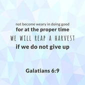 Bible verse from galatians not become weary in doing good typographic on polygon background