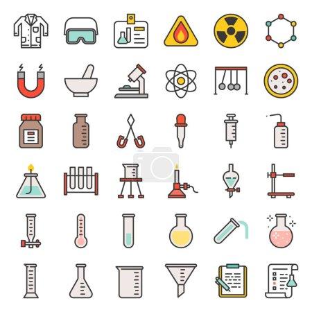 Illustration pour Équipement de laboratoire, concept analytique de chimie, icône de contour remplie - image libre de droit