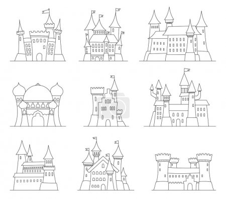 Castles and fortresses flat design vector icons. Set of 9 illustrations of ruins, mansions, palaces, villas and other medieval buildings.