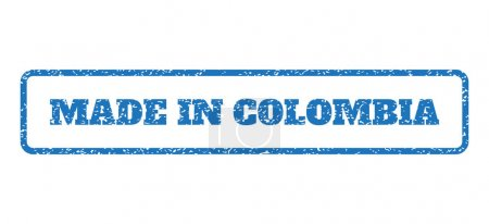 Blue rubber seal stamp with Made In Colombia text....