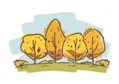 Hand drawn sketch of autumn trees. Cartoon natural landscape.