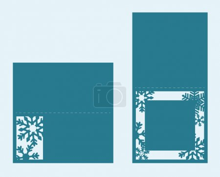 Set of two Christmas cards with snowflakes. Template for laser cutting.