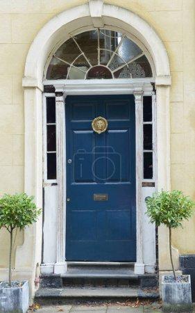 Photo pour Belle maison et porte bleu avec les plantes vertes - image libre de droit