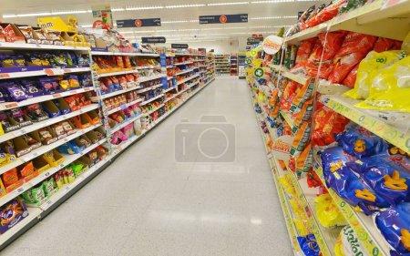 Aisle is seen in Asda supermarket