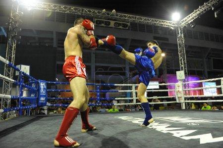 BANGKOK, THAILAND - November 21, 2012: amateur Thai kickboxing match at MBK Fight Night