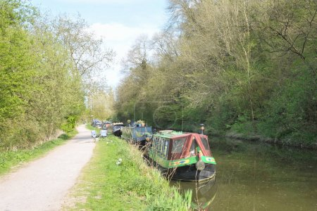 View of Narrow Boats and Tow Path on Kennet and Avon Canal, City of Bath, Somerset, England