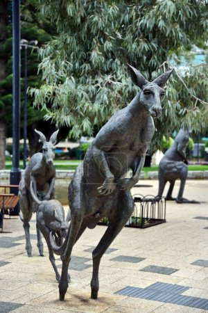Perth, Australia - May 30, 2017: view of kangaroos sculptures by Charlie Smith & Joan Walsh-Smith in Stirling Gardens in city centre.