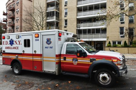 New York City, USA - November 11, 2015: New York Fire Department ambulance responding to emergency