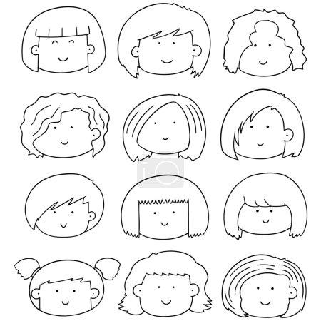 vector set of woman face