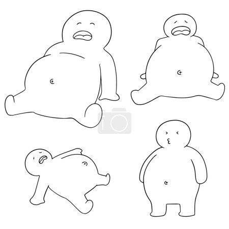 Vector set of people with full stomach