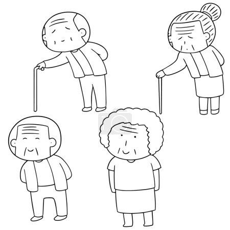 jeu de gens âgés vectorielles