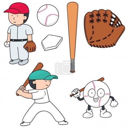 Illustration pour Jeu de joueur de baseball et l'équipement de baseball vectorielles - image libre de droit