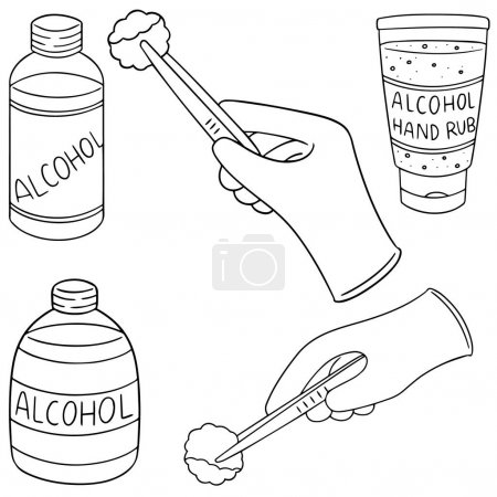 Illustration for Vector set of forcep, alcohol and sterile cotton - Royalty Free Image