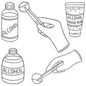 Vector set of forcep alcohol and sterile cotton