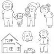 Vector set of family, car and house...