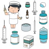 Vector set of nurse and injection medicine