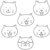 vector set of cat face
