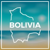 Bolivia map rough outline against the backdrop of beach and tropical sea with bright sun