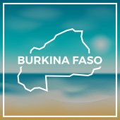 Burkina Faso map rough outline against the backdrop of beach and tropical sea with bright sun