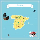 Flat treasure map of Spain Colorful cartoon with icons of ship jolly roger treasure chest and banner ribbon Flat design vector illustration