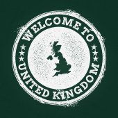 White chalk texture retro stamp with United Kingdom of Great Britain and Northern Ireland map on a green blackboard Grunge rubber seal with country outlines vector illustration