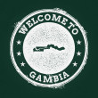 Постер, плакат: White chalk texture retro stamp with Republic of the Gambia map on a green blackboard