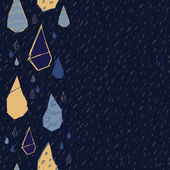 Raindrops Vector Seamless Pattern Handdrawn Rainy Pattern Background