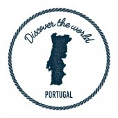 Vintage discover the world rubber stamp with Portugal map
