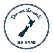 Vintage discover the world rubber stamp with New Zealand map Hipster style nautical postage stamp with round rope border Vector illustration
