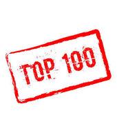 Top 100 červené razítko izolovaných na bílém pozadí