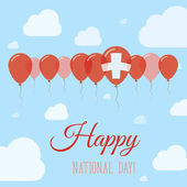 Switzerland National Day Flat Patriotic Poster Row of Balloons in Colors of the Swiss flag Happy