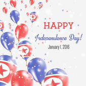 Korea Democratic People's Republic Of Independence Day Greeting Card Flying Balloons in Korea Democratic People's Republic Of National Colors