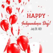Peru Independence Day Greeting Card Flying Balloons in Peru National Colors Happy Independence Day