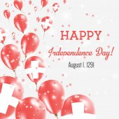 Switzerland Independence Day Greeting Card Flying Balloons in Switzerland National Colors Happy